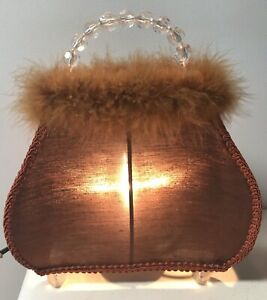 PURSE Shaped Bedroom Decor LAMP Fabric Light Display Beads Faux Fur