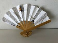 Folding White Hand Fan Recycled Paper Purple Flowers Bamboo Handle