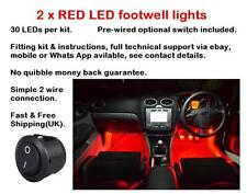 2 x 25cm Red LED footwell lights includes switch fitting kit and instructions