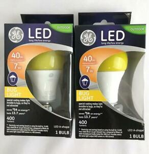 * 2 GE Outdoor LED Bug Light Bulbs 7w / 40w Replacement 400 Lumens A Medium Base