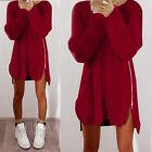Femme manches longues Jumper Hauts chandail tricoté Tunique Pull robes En vrac