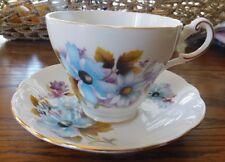 REGENCY Made in England Blue Flower Autumn Teacup Cup & Saucer