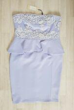 LIPSY size 14 strapless LACE PEPLUM DRESS mini CORN FLOWER BLUE occasion PARTY