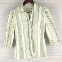 Old Navy Women's Size L Stretch White Multicolor Striped Button Down Blouse Top