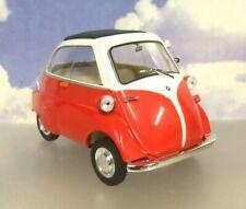 WELLY/NEX 1/18 DIECAST 1955-1962 BMW ISETTA 250 MICROCAR/BUBBLE CAR RED & WHITE