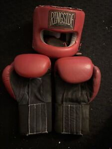 Ringside Leather Headgear and Gloves Boxing
