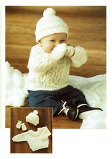 Baby Sweater hat mittens knitting pattern in DK. Jumper pullover.