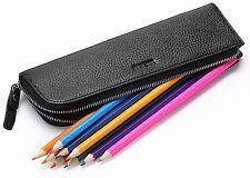 MEKU Pencil Case Genuine Leather Pen Case Stationery Bag Zipper Pouch Pencil 2