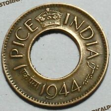BRITISH INDIA 1 PICE ANCIENT HOLE COIN GEORGE VI - RARE VINTAGE COIN