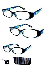 3 Pair +1.00 Foster Grant Blue Rainbow Reading Glasses w Soft Case MSRP:$48