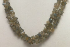 """*Authentic* Labradorite Chip Bead Crystal 34"""" Necklace #62"""