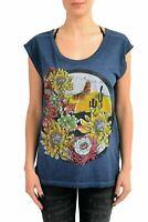Just Cavalli Women's Blue Graphic Sleeveless T-Shirt US S IT 40