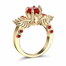 Size 7Gold Rhodium plated Red Ruby Crystal Ring Propose Anniversary Party Gift