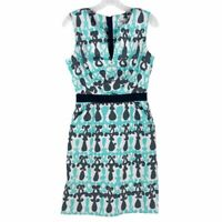 MILLY Womens Sheath Dress Blue Geometric Empire Waist Notch Neck Sleeveless 8