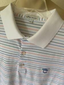 Peter Millar Men's White Striped Short Sleeve Polo Tree Logo Size Large $89 **