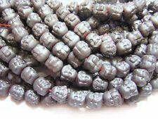 8mm Matte Hematite Laughing Buddah Head Beads (10) #2517