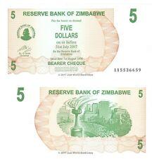 """Zimbabwe 5 DOLLARI 2006 P-38 AL PORTATORE prima prefisso """"AA"""" BANCONOTE UNC"""