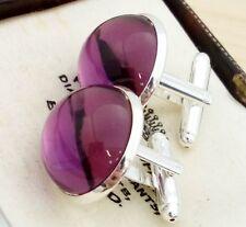 Vintage - 1970s Amethyst Purple Glass - 20mm Round Silver Plated Cufflinks