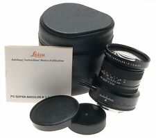 LEICA PC-SUPER-ANGULON-R 1:2.8/28 CAMERA LENS WIDE ANGLE f=28mm CASE CAPS MANUAL