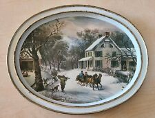 """Vintage Currier And Ives """"The American Homestead"""" Winter Metal Serving Tray Oval"""