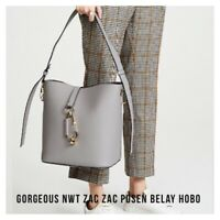 NWT ZAC Zac Posen GENUINE BELAY LEATHER Hobo Purse Hand BAG Tote GARGOYLE $395