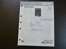 Original Service Manual SONY Cassette Stereo Cassette Player WM B 47