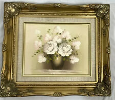 Oil Painting Still Life Floral White Pink Flowers in Vase Framed Realism Art