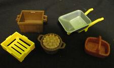 Playmobil Ranch Farm House -Farm containers Crates Baskets Wheelbarrow