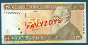 Lithuania Specimen Pick 67 50 Litu 2003 Pavyzdys