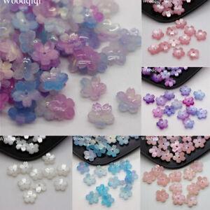 20pcs Colorful Acetate 3D Sakura Flower Beads Opaque Loose Beads Flatback Craft