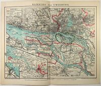 Original 1902 Map of Hamburg & Vicinity Germany by F. A. Brockhaus, Antique