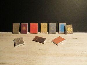 10 DOLLS HOUSE MINIATURE VINTAGE BOOKS SET BBHY