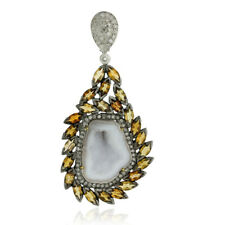 Tourmaline Gemstone Diamond 18k Gold Sterling Silver Antique Pendant Jewelry