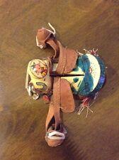 Vintage Western Folk Art Wood Leather Miniature Painted Horse Saddle