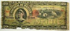 1905 Mexico Banco Nacional 20 Pesos with Aguascalientes S259 Cowboy #11840