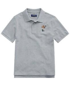 Polo Ralph Lauren Toddler Boy's Rugby Bear Cotton Mesh Polo, Grey, Sz-5 9640-3