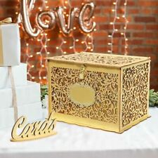 Glitter Gold Gift Card Box Wooden Envelope Box with Lock Baby Shower Birthday