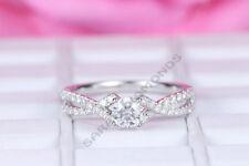 Round Womens 3CT Diamond Wedding Anniversary Halo Engagement Ring All Size