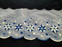 Organza Spitze Borte Spitzenband weiß blau 19 cm Florale Stickerei Bogenkante