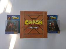 Box Crash bandicoot Crate loot goodies + 2 figurines totaku crash doré/gold