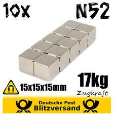10x Neodym Magnet Würfel 15x15x15mm 17kg - Powermagnet Hochleistungsmagnet stark