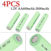 4Pcs 1.2V AA 600-2000mAh Ni-MH Rechargeable Battery For Headlamp LED Flashlight
