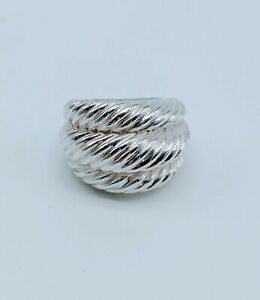 VINTAGE STERLING SILVER TRIPLE DOME GROOVED RING