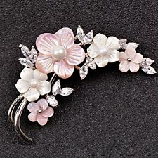 18K WHITE G/P PINK SEASHELL & CLEAR CUBIC ZIRCONIA & WHITE PEARL FLOWER BROOCH