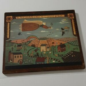 Folk Art Amish Community Wood Art Wall Hanging 13x14in