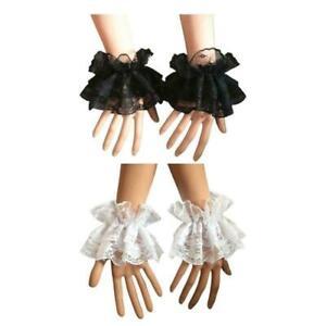 Steampunk Lolita Hand Sleeve Wrist Cuffs Ruffled Floral Lace Elastic Bracelet.