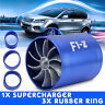 Double Propeller Supercharger Turbo Turbine Air Intake Fuel Gas Saver Fan Blau