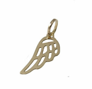 Solid 9ct Yellow Gold Guard Angel Wing Pendant Charm