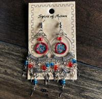 NEW Spirit of Nature Red & Blue Dream Catcher Threaded Bead Dangle Earrings Boho