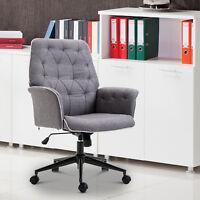 HOMCOM Office Chair Task Adjustable Height Mid Back Armrest Tilt Linen Grey